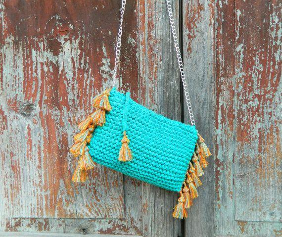 boho crochet  bag  turquoise shoulder bag crochet  by lecosedites