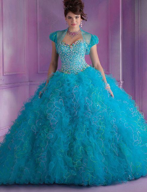 Don Nupcial de Las Colmenas Del Organza del Rhinestone de Manga Corta Con la Chaqueta vestido de Bola Vestidos de Quinceañera Debutante Vestido de 2016