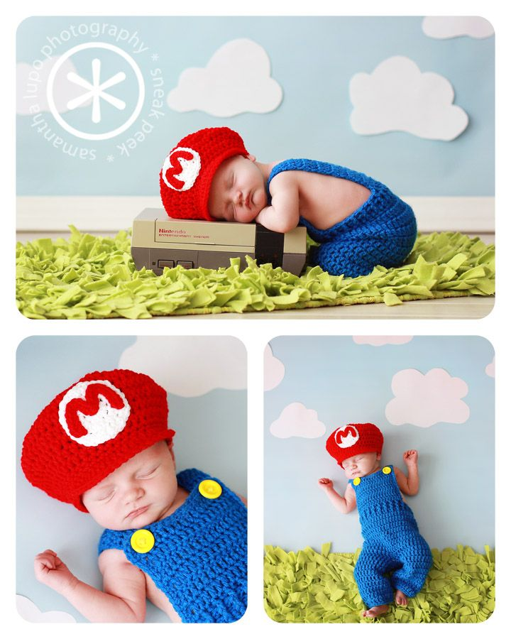 Newborn Super Mario Brothers photography session.  www.lupophotography.com