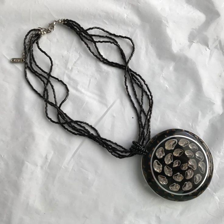 EAST Black inlaid shell Necklace with five strands of beads for a chain statemen #east #Statement