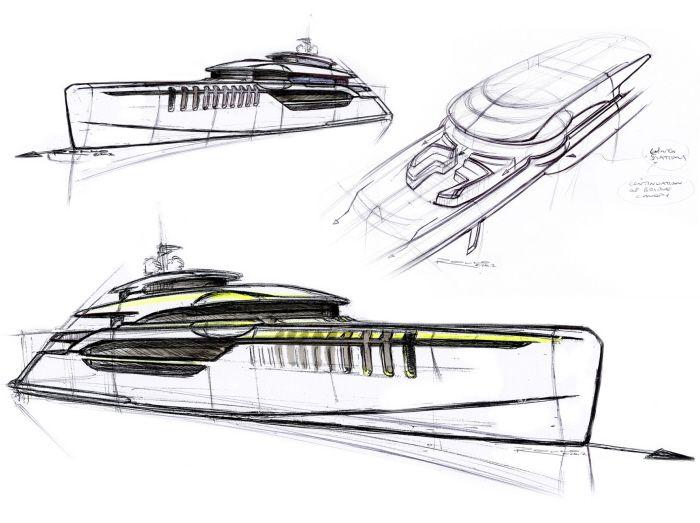Superyacht sketches by Rollo Dixon at Coroflot.com