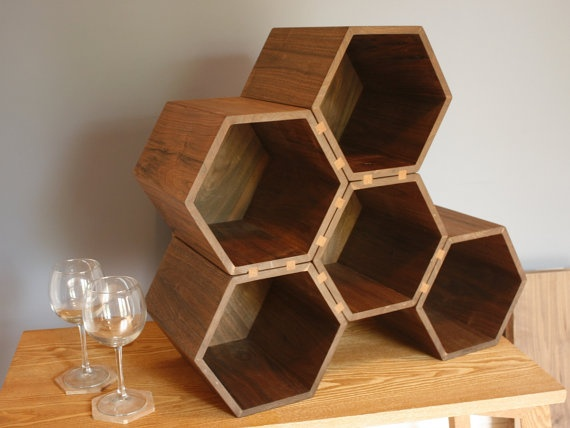 my search for a perfect wine rack has come to an end- drona, large hexagonal wine rack from etsy