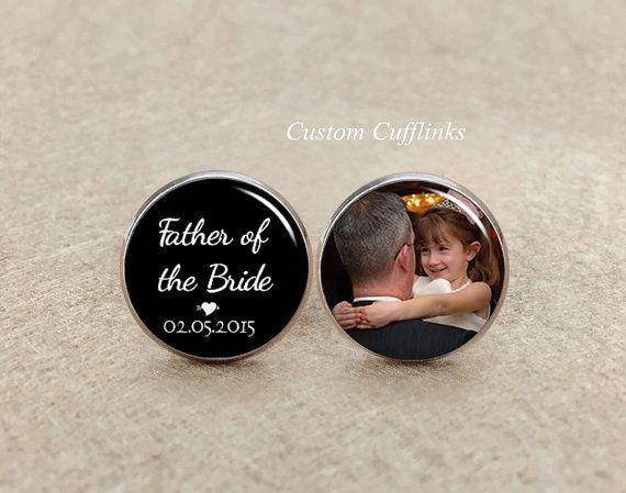 Boutons de manchettes, père de la mariée, boutons de manchettes, manchette Date de mariage personnalisé, Custom Photo bouton de manchette, bijoux mens, père de la mariée boutons de manchette