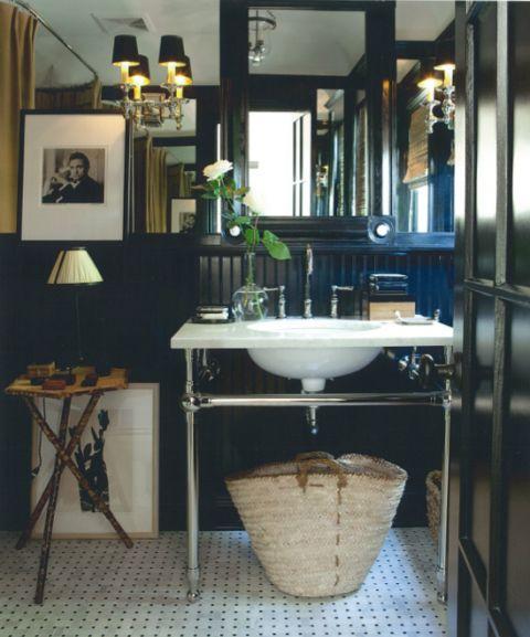 Mark Sikes- House Beautiful: Interior Design, Decor, Black Bathrooms, Ideas, House Beautiful, Bathroom Idea, Dark Bathroom, Sink, Powder Rooms