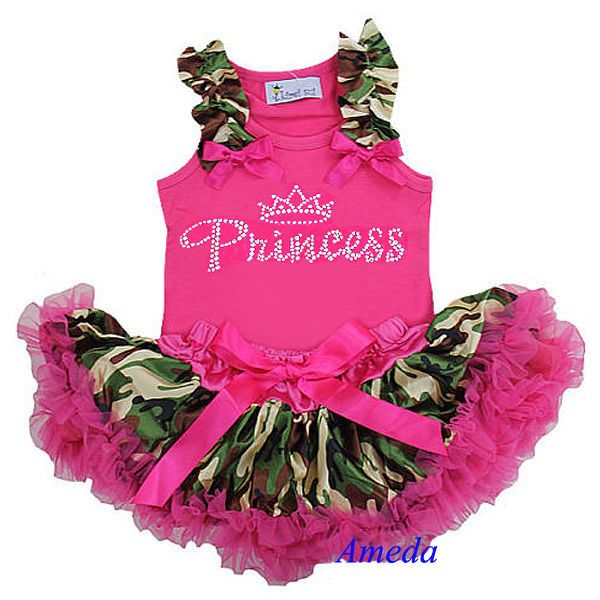Newborn Baby Camo Pettiskirt Rhinestone Princess Pink Tank Top Party Dress 3-6M #Unbranded #Everyday