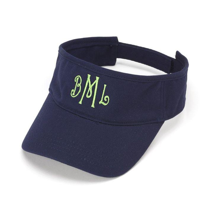 Navy Blue Personalized Womens VISOR HAT Baseball Cap Beach Pool Sports