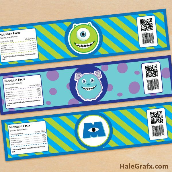FREE Printable Monster Inc Water Bottle Labels Disney Monster