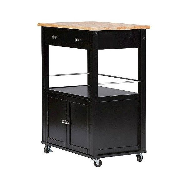 Denton Contemporary Kitchen Cart With Wood Top ($187) ❤ liked on Polyvore featuring home, kitchen & dining, black, baxton studio, island cart, wood top kitchen cart, black kitchen cart and kitchen island cart