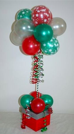 Pearl Silver, Red and Emerald Green Topiary Tree with Christmas Prints