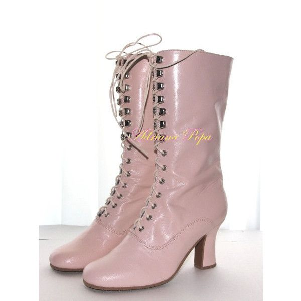 Victorian Boots in Light Pink leather victorian Shoes in Blush Powder... (835 RON) ❤ liked on Polyvore featuring shoes, boots, pink leather shoes, real leather shoes, leather shoes, victorian boots and genuine leather shoes