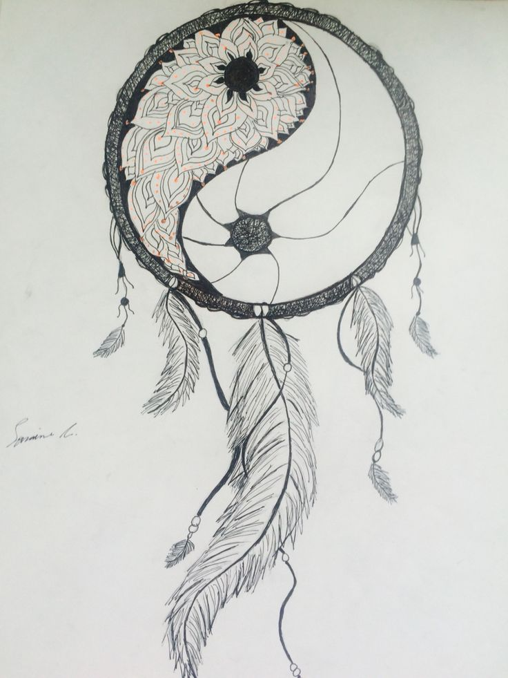Please catch my nightmares. Yin yang mandala dream catcher. Tumblr inspired. By Lorraine