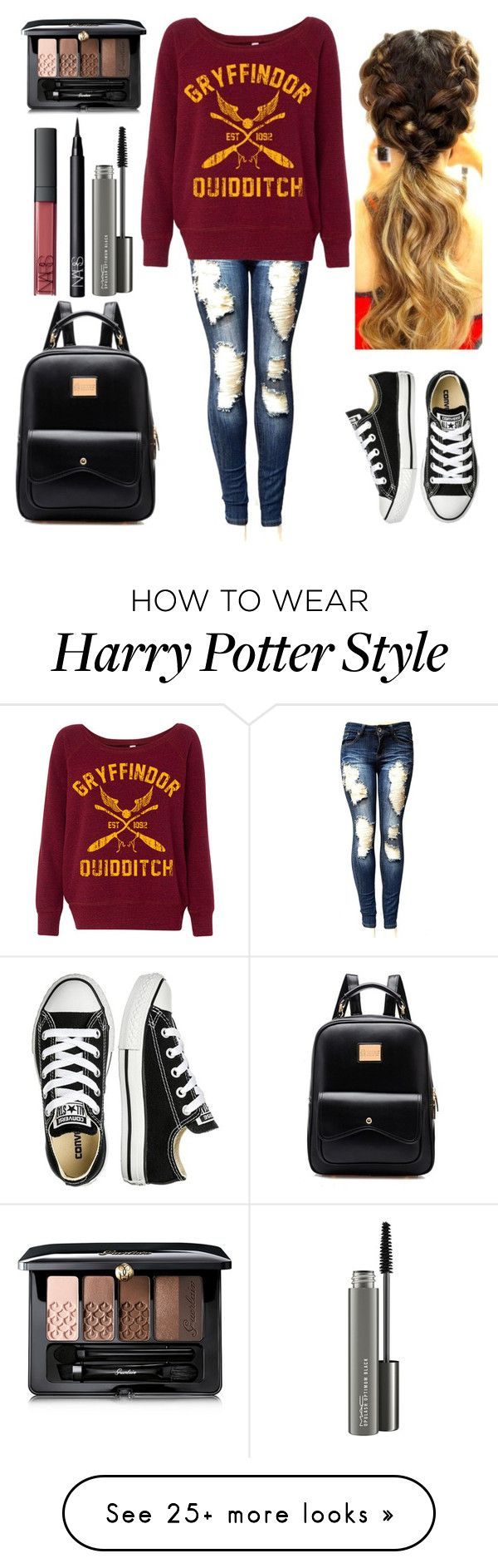 """For fashionista-gurl-1"" by harrypotter-gurl on Polyvore featuring Converse, MAC Cosmetics, NARS Cosmetics and Guerlain"