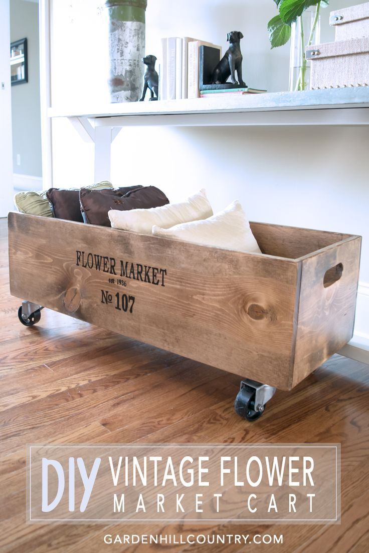 This versatile cart in both style and function add charm to just about any setting. This DIY Vintage Flower Market Cart is simple to make especially with the downloadable plan and a project highlights video. gardenhillcountry...