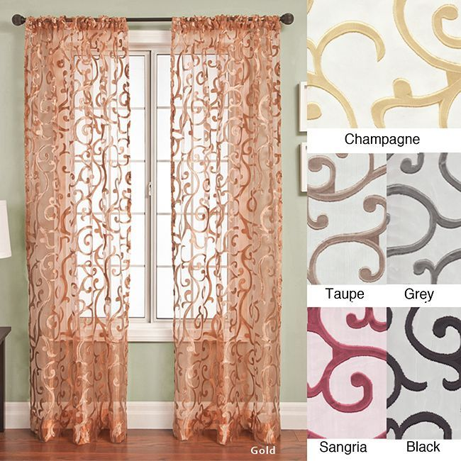Update you home with this stylish 96-inch curtain panel by Chiante, featuring six unique color options to choose from. Made with 100 percent polyester, these window treatments implement the modern scroll-clip jacquard design for a stylish accent.