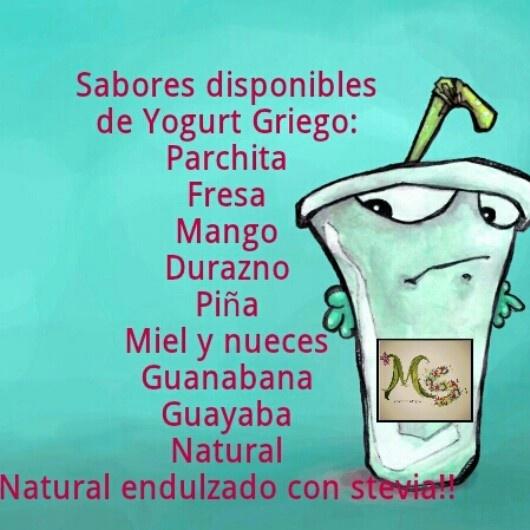 Sabores disponibles de yogurt griego comunicate por creacionesmarysil@gmail.com