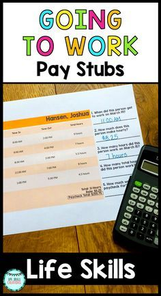 "The goal for many of my students is to be able to get a job one day. In order for them to be successful, it is important that they acquire some soft skills along the way such as learning how to read pay stubs. Students will have a chance to practice reading pay stubs to help them with simple vocabulary like ""time in,"" ""time out,"" ""rate,"" and just overall to get them familiar with the basic concept of pay stubs themselves. $ Gr 2-12 