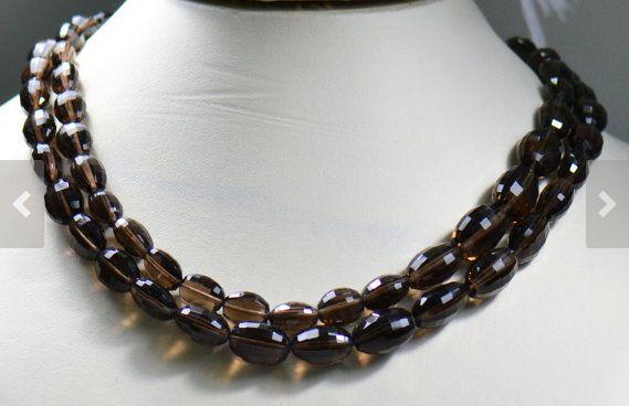 Handmade 16 inch Strand of Smoky Quartz Beads