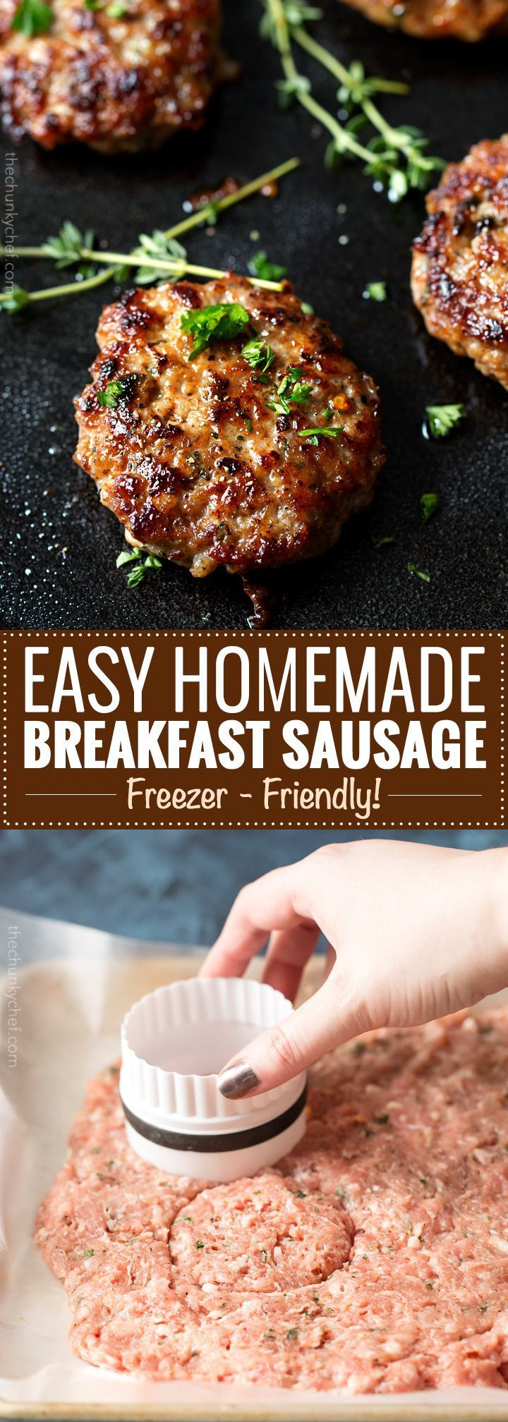 Homemade Maple breakfast sausages made with a combo of ground turkey and pork, savory herbs, and sweet maple syrup. The mouthwatering combo gives way to a low calorie homemade version of your favorite breakfast food! | http://thechunkychef.com