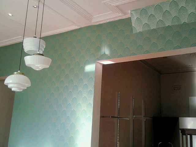Green wallpaper installed by Aidan Griffin at Cutting Edge Wallpapering in Melbourne