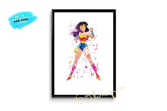Wonder Woman Poster watercolor printable poster watercolor