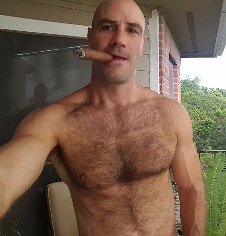 Hot hairy studs smoking cigarettes