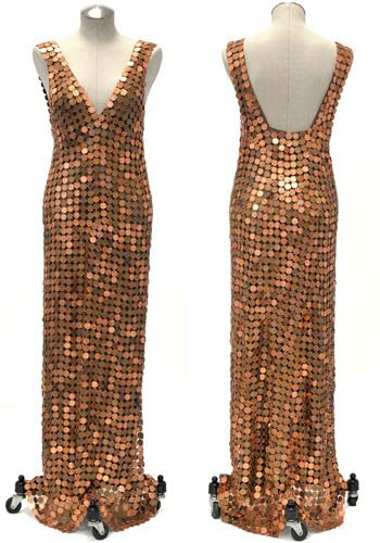 Raymond Waters Haute Couture Sculpture No.3  2010, recycled penny and copper wire with zipper & fabric under dress on mannequin with wheels