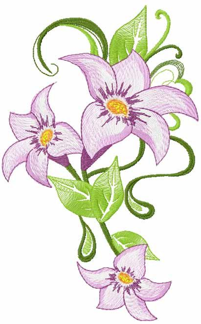 Lily free embroidery design 9