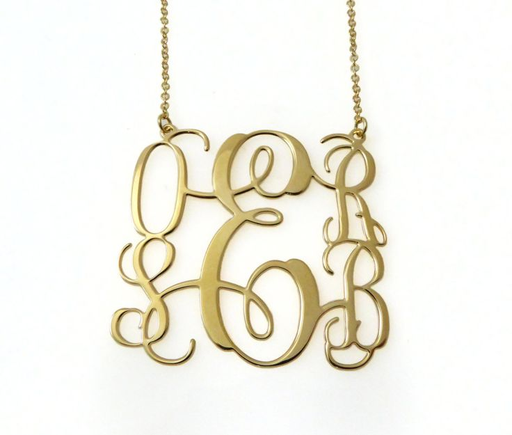 """5 initiales Monogram Necklace. Gold plated sterling silver monogram necklace. Personalized jewelry. 2"""" pendant Monogram jewelry"""