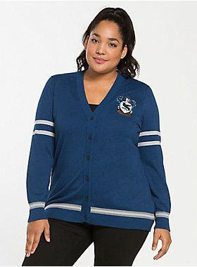 We don't need a Sorting Hat to tell us that this Ravenclaw cardigan was made for you! The silky-soft blue knit is a boyfriend fit, with grey stripes on the hem and sleeves. A Ravenclaw house badge will have you feeling wise.