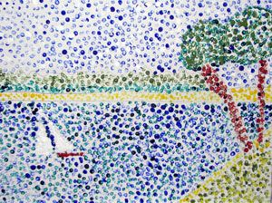"Q-Tip Pointillism - I'm thinking a lesson on ""Seurat the dot"" and then an activity. If it comes out cool... yeah, I'd frame that. painting colour landscape"