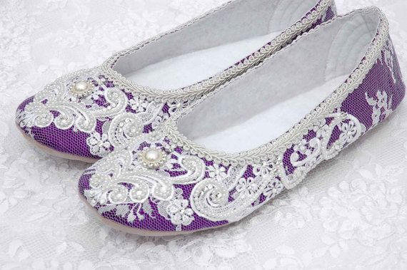 Rachel Wedding Shoes, Purple Bridal Ballet Flat, Vintage Lace, Swarovski Crystals, Pearls, Custom Made Women's Wedding Flats, by pink2blue