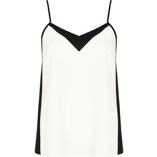 River Island Black and white colour block cami top ($23) ❤ liked on Polyvore featuring tops, tanks, shirts, tank tops, blusas, cami top, spaghetti strap tank, colorblock shirt, cami tank tops and camisole tops