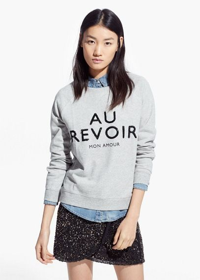 Sweat-shirt à message sequins - Cardigans et pull-overs pour Femme | MANGO Outlet France