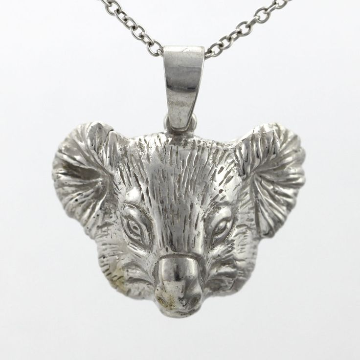 XL Detailed Koala Head Pendant 3D Solid Sterling Silver 925 eBay