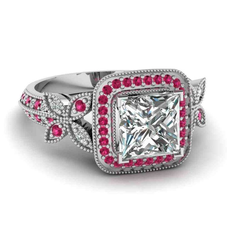 49 best my creations images on pinterest enamels for Princess cut pink diamond wedding rings