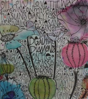 Another garden doodle page I did from the dye drop journal Judy gave me.