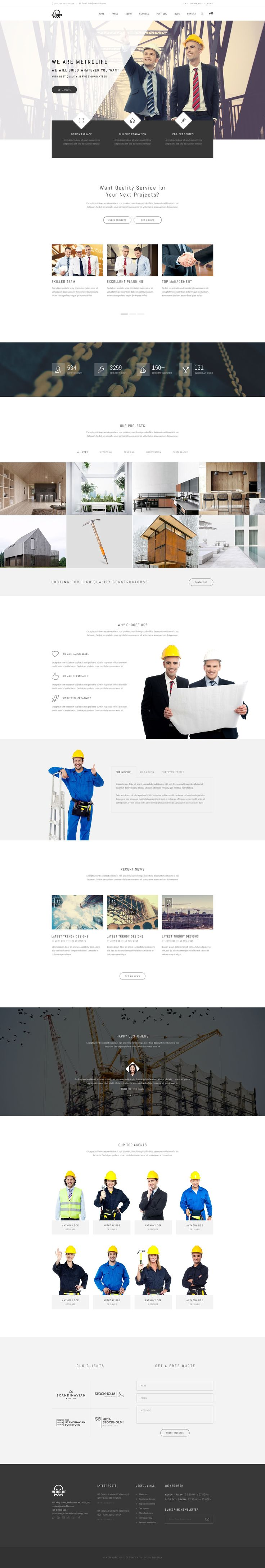 Metrolife is a Responsive, Minimal, Creative and Professional Website Template for any type of Corporate, Business, Magazine, Creative, Portfolio, E-Commerce, #Construction, Medical, Real Estate #Websites.