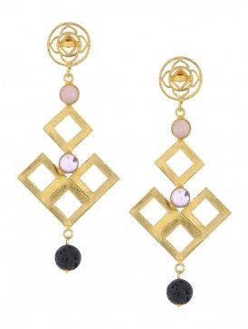 Rose Quartz and Amethyst Brass Earrings