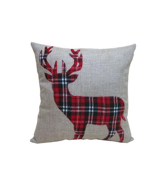 Holiday Cheer Burlap Plaid Deer Pillow
