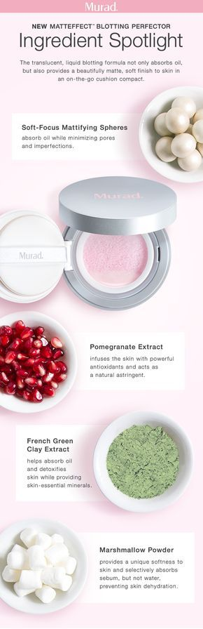 Oily skin, meet your matte! Instantly mattify, refresh and set make up for flawless skin with Murad's MattEffect Blotting Perfector. This translucent, liquid blotting formula makes oily skin beautifully matte with a soft finish. Pomegranate extract infuses the skin with powerful antioxidants and acts as a natural astringent, while French green clay extract helps absorb oil and detoxifies skin. Marshmallow powder provides a touchably soft finish and absorbs oil without dehydrating skin.