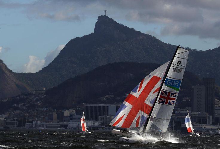 Ben Saxton and Nicola Groves of Great Britain during a Nacra 17 mixed class race at the Rio 2016 Olympics at Marina da Gloria on August 11, 2016 in Rio de Janeiro, Brazil.