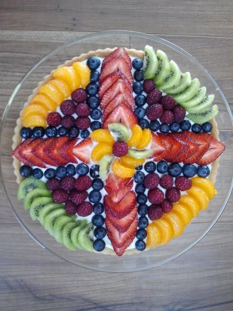 Fruit pizza arrangement for Easter brunch - no recipe included.