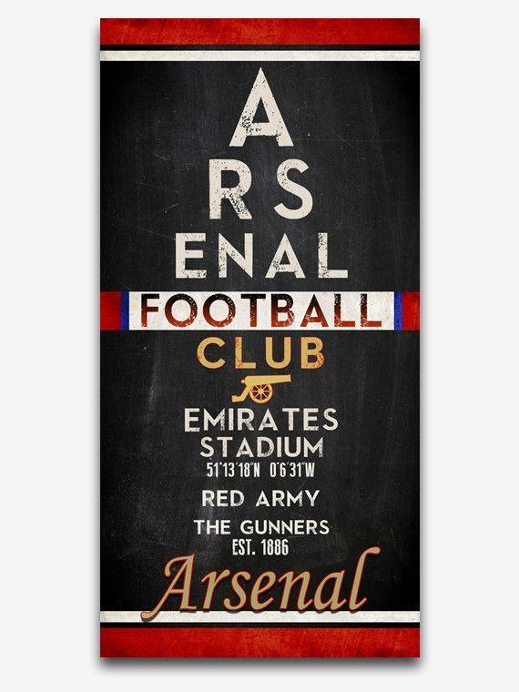 "Arsenal FC Football Club ""Eye Chart"" ART PRINT, Sports Wall Decor, man cave gift for him, Unframed"