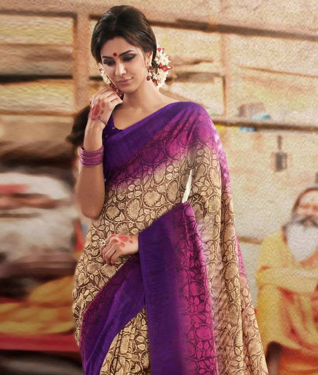 Add sheen to your ethnic wear collection with some of the most delightful and supreme quality suits and sarees. Crafted with great detailing and intricate work, this collection screams for itself. Its time to grab the best and flaunt it in style! BRAND: Viva N DivaCATEGORY: Saree with Unstitched BlouseARTICLECOLOURMATERIALLENGTHSareeBeige, Purple and PinkBhagalpuri Silk5.40 metersBlousePurpleBhagalpuri Silk0.75 metersCARE INFO: Dry Clean OnlyPRODUCT CODE: 12015DELIVERY: We know what you…