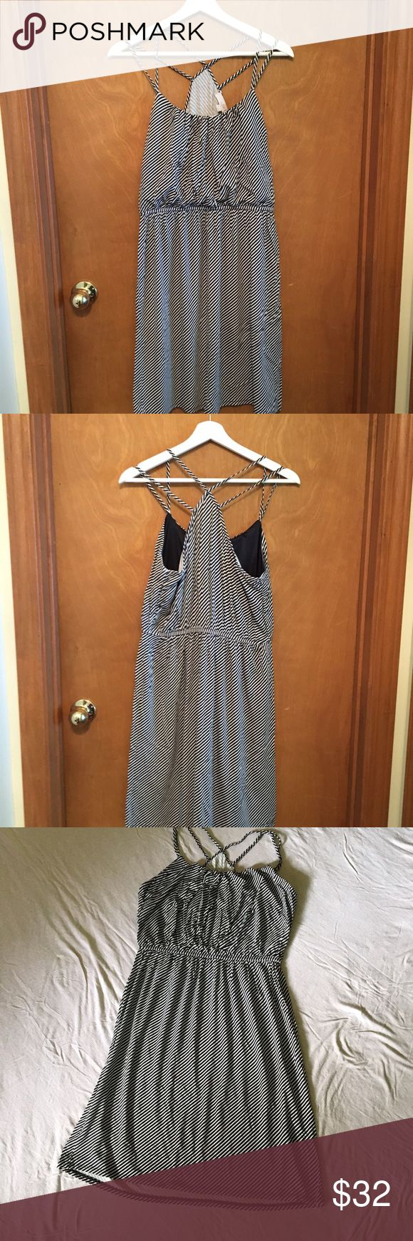 Strappy petite sundress Navy and white petite dress. Elasticized waist. Chest is lined. NWOT. Gathering at neckline creates a blouson effect. Make an offer!!! 30% off bundles! LOFT Dresses