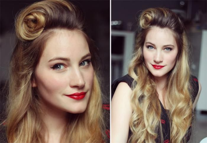 coiffure pin up, grand rouleau victory et cheveux longs looses