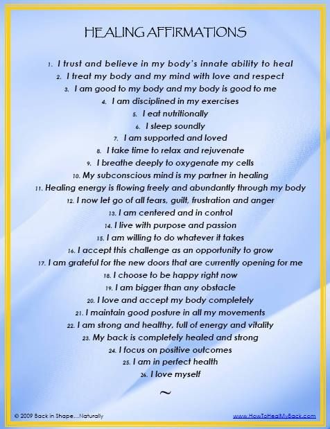 Choose and use one of these healing affirmations when you need to. Self-care is our theme for May, and affirmations are a great thing to replace negative thinking, when you get caught in a rumination spiral.