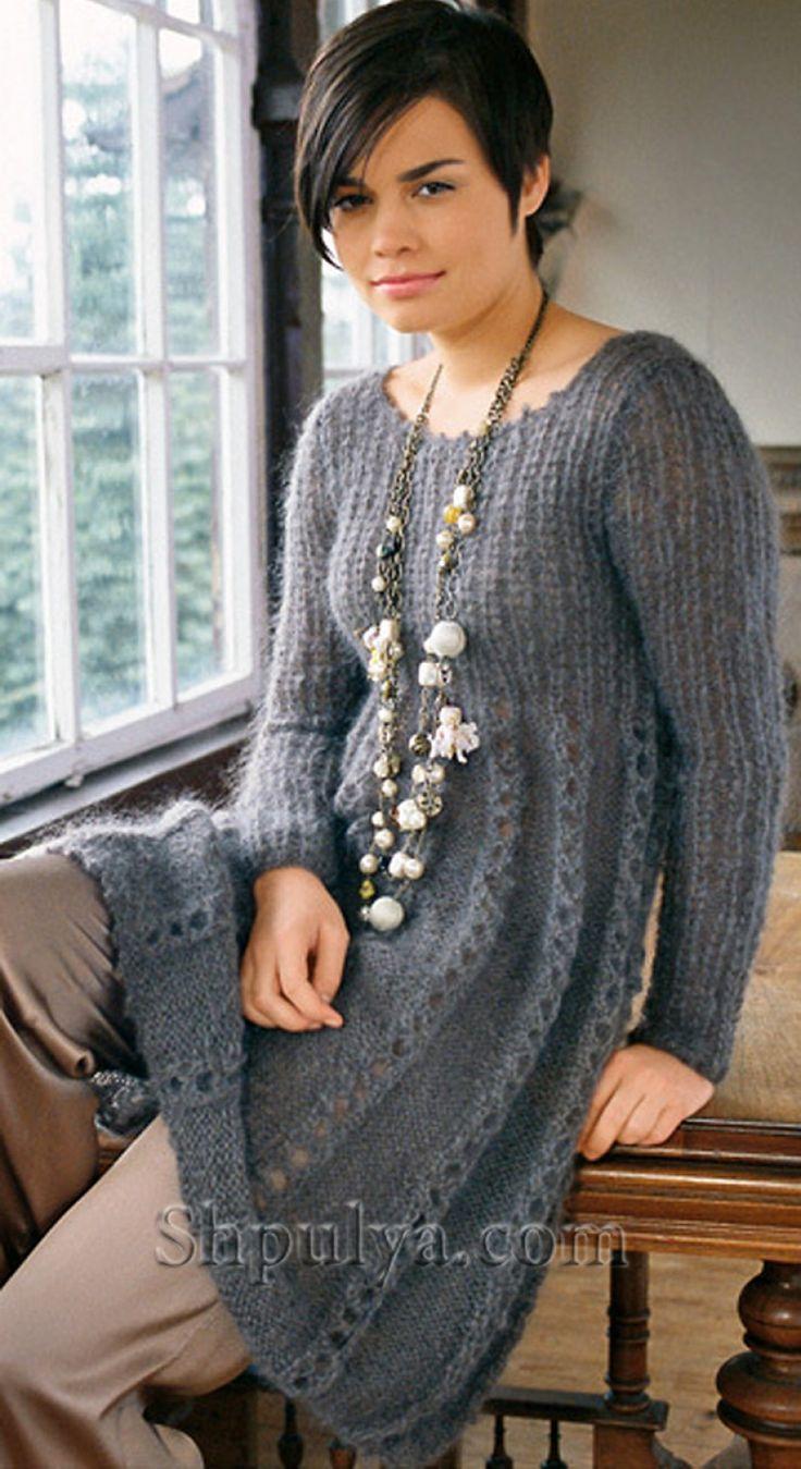 Расклешенное платье из мохера с ажурными полосами