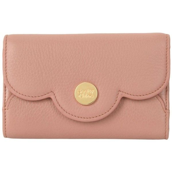 See By Chloé Wallet (675 PEN) ❤ liked on Polyvore featuring bags, wallets, pastel pink, red bag, pastel pink bag, snap bag, logo bags and see by chloe wallet