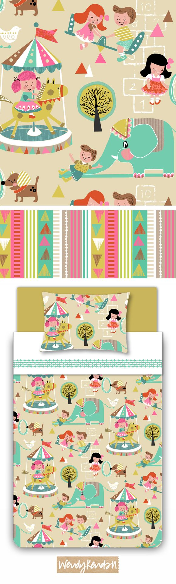Wendy Kendall Designs | Freelance Surface Pattern Designer | Lets Play kids' pattern